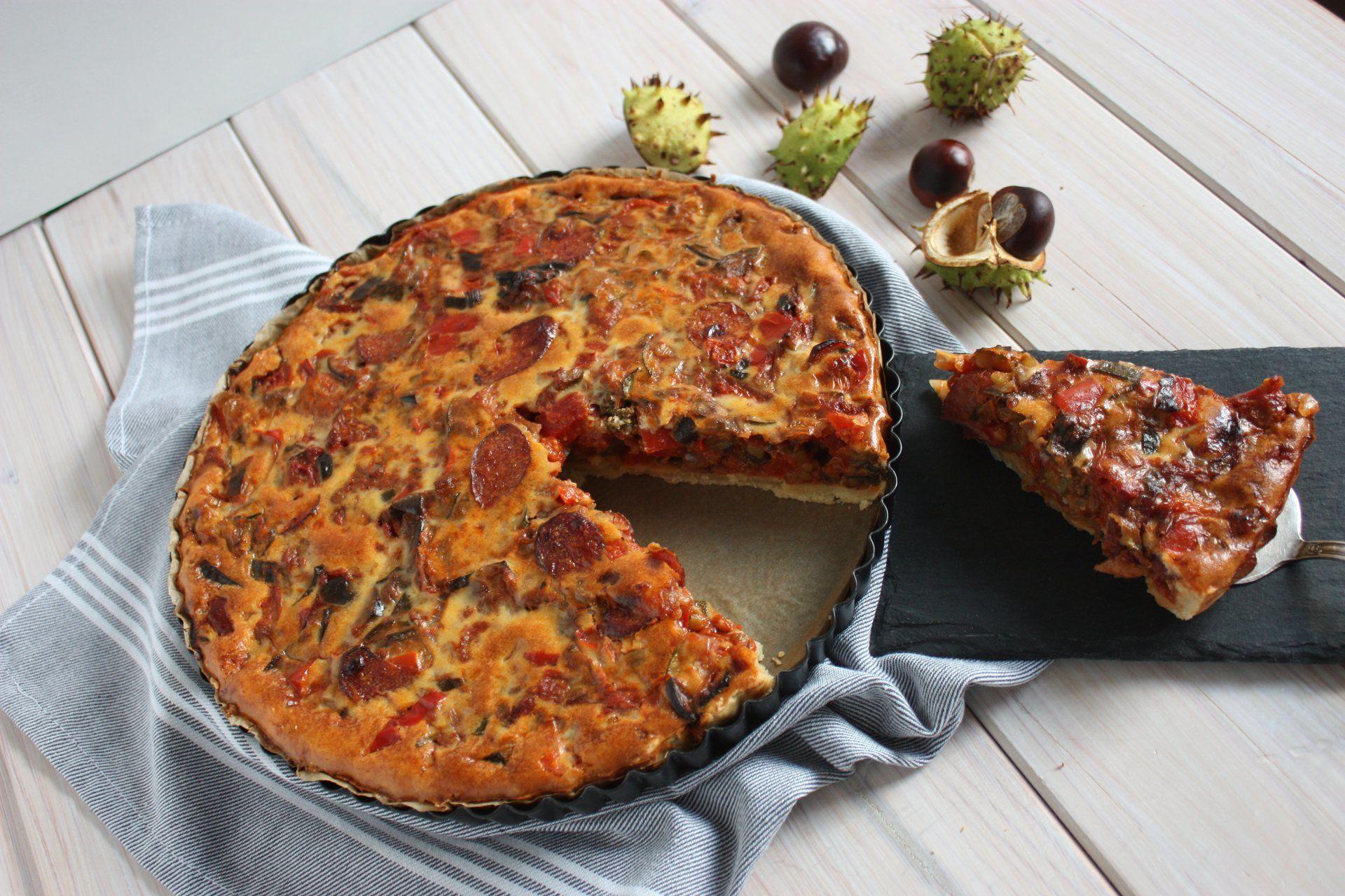 Tarte mit Aubergine und Zucchini